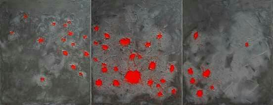 """""""Untitled XXII"""" cemento colorato e acrilico su tela, trittico cm 300x120, 2015"""