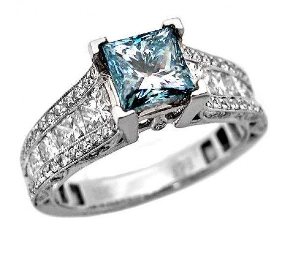 2.68 ct blue diamond ring