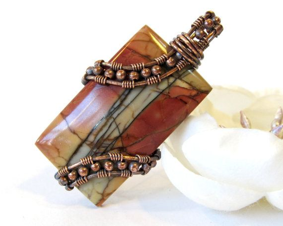 Red Creek Jasper Wire Wrapped Pendant, Rectangle Natural Stone Pendant, Oxidized Copper Wire Weave Pendant, Earth Tone Necklace, Asymmetric