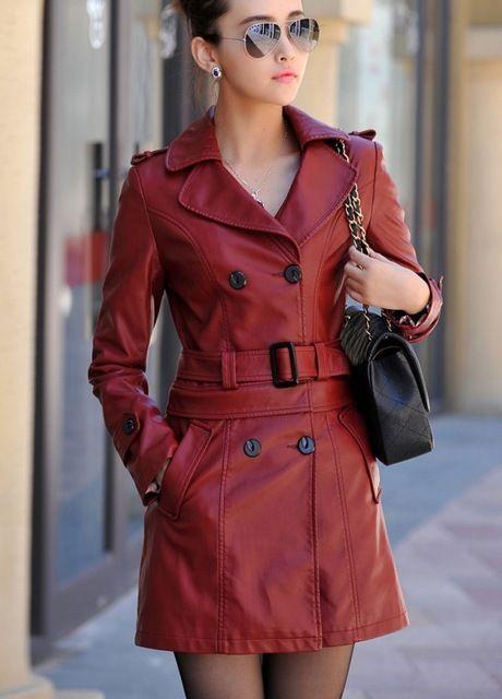 Moda Leather jacket women abrigo largo de cuero nuevo 2016 invierno primavera mujeres de cuero chaquetas abrigos abrigos girls trench negro