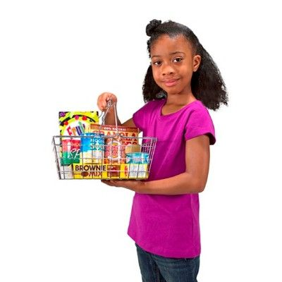 Melissa & Doug Grocery Basket - Pretend Play Toy With Heavy Gauge Steel Construction, Durable