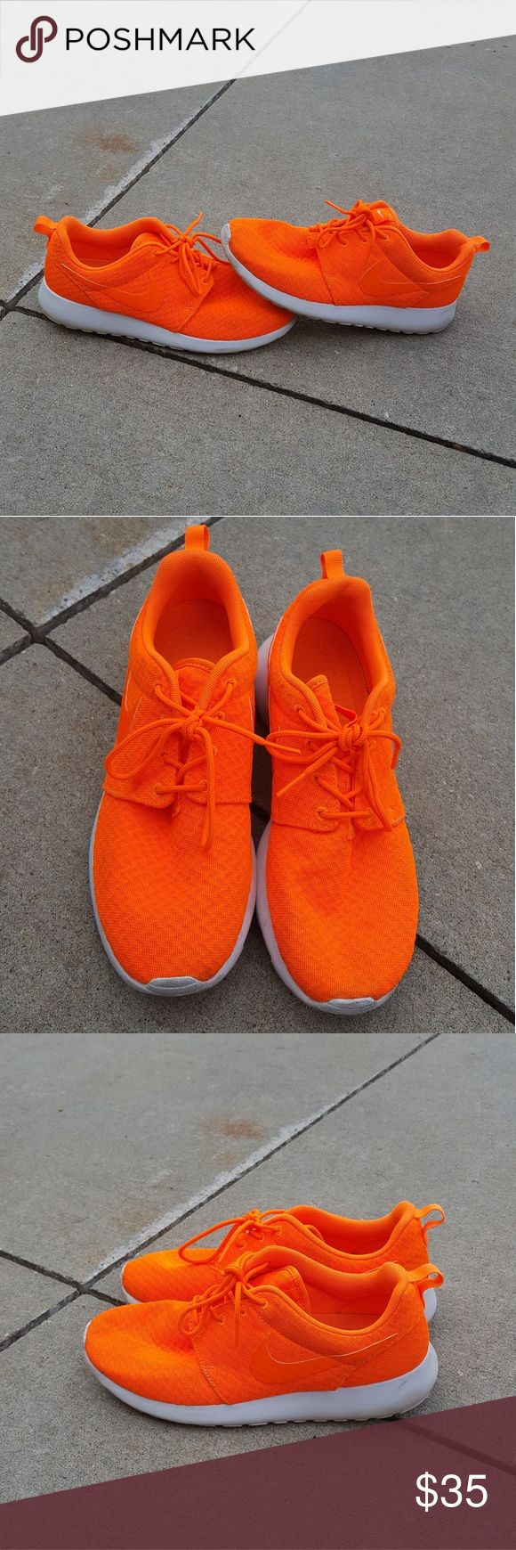 Nike Neon orange roshes Has been worn Shoe size 9 Roshes  Neon orange Has some signs of wear (mud spots/stains)  No Trades Nike Shoes Sneakers