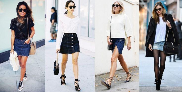 Minifaldas de jean, un must del otoño.