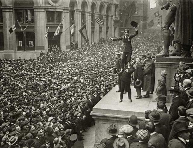Charlie Chaplin visiting Wall Street