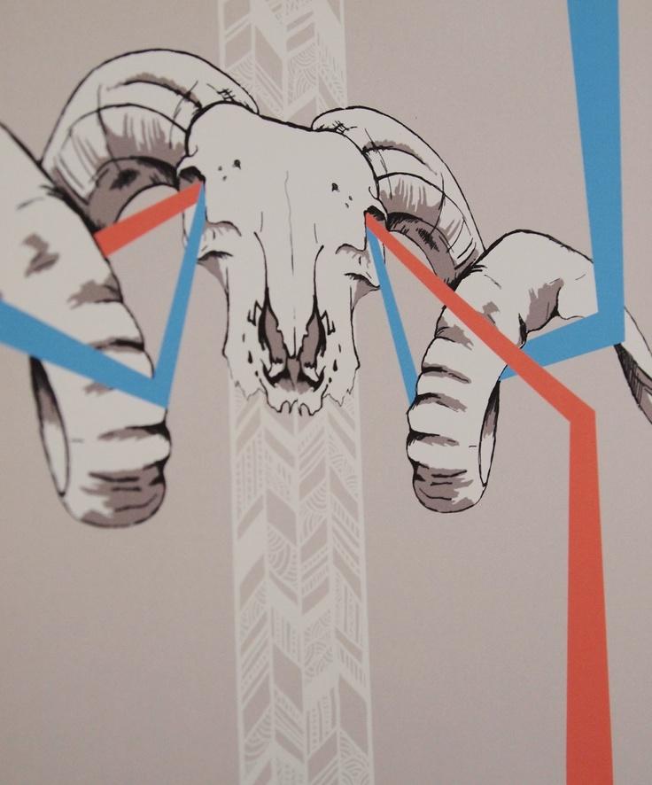 Bighorn Skull Print - A3 Ram Skull Illustration, Aqua and Red. £15.00, via Etsy.