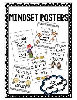 Having a growth mindset is important for your students. Use the posters as a daily reminder in your classroom!