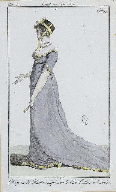 English fashion plates from 1802 and French fashion plates from Year 10 (1801-1802) of the French Republican Calendar. All images come from the collection of the Bibliothèque des Arts Décoratifs. www.lesartsdecoratifs.fr/francais/bibliotheque/: