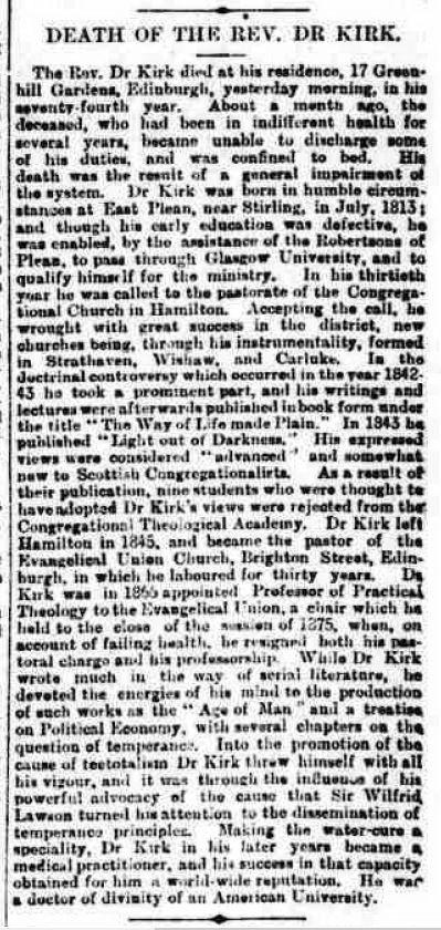 Death of John Kirk, Aberdeen Free Press, 28 October 1886, p5
