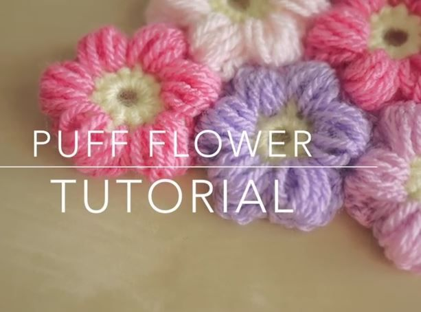 How To Crochet A Puff Flower Tutorial* ༺✿ƬⱤღ https://www.pinterest.com/ter