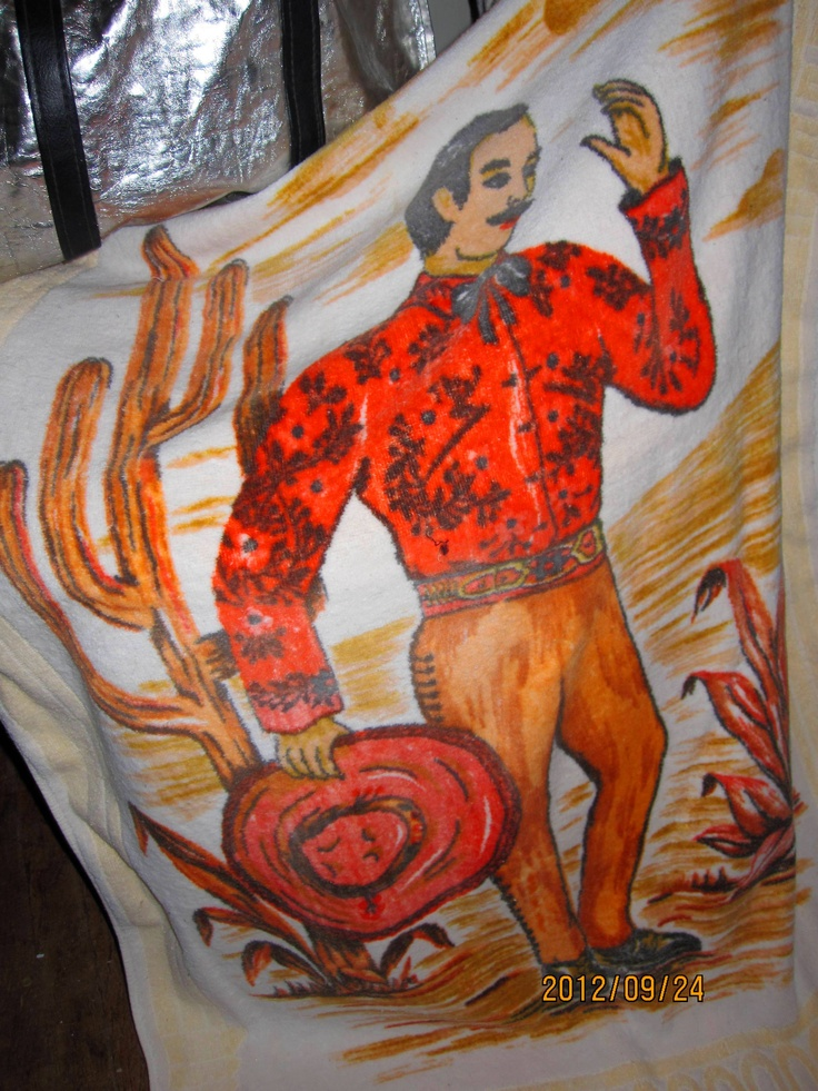 a lovely large beach towel, with good thick toweling & cool graphic of what I call a gaucho guy, even though he isnt wearing gauchos...no label
