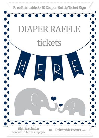 free navy blue dotted elephant 8x10 diaper raffle ticket sign