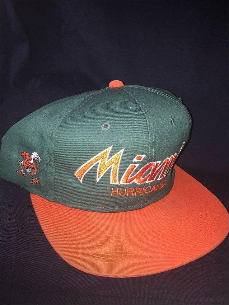 Vintage 90's NCAA University of Miami Hurricanes Sports Specialties Script Snapback Hat Cap by RackRaidersVtg on Etsy