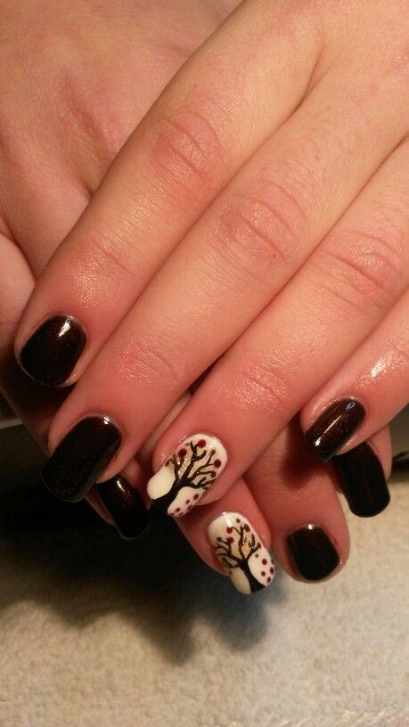 Fall tree nail art