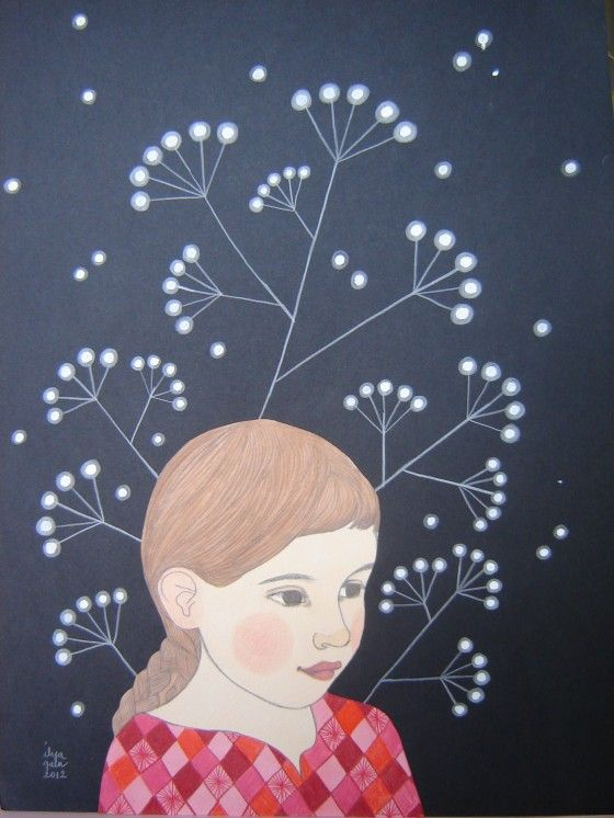 Ilya11 - La Rêveuse Technique mixte, 31x41 cm, 320 euros