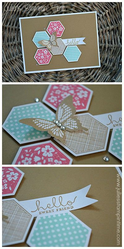 handcrafted greeting card ... hexagon grouping of stamped and punched out hexagons ... kraft background ... polka dot butterfly sits on top ... sentiment on small fishtail flag ... wonderful card!! ... Stampin' Up!