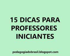Hoje traremos dicas para os professores iniciantes , formados há pouco ou ainda estudantes de licenciatura ou pedagogia. Para entrar n...