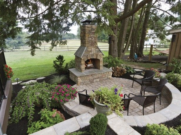 Create the ultimate outdoor fireplace setting with this Fireplace setting ideas