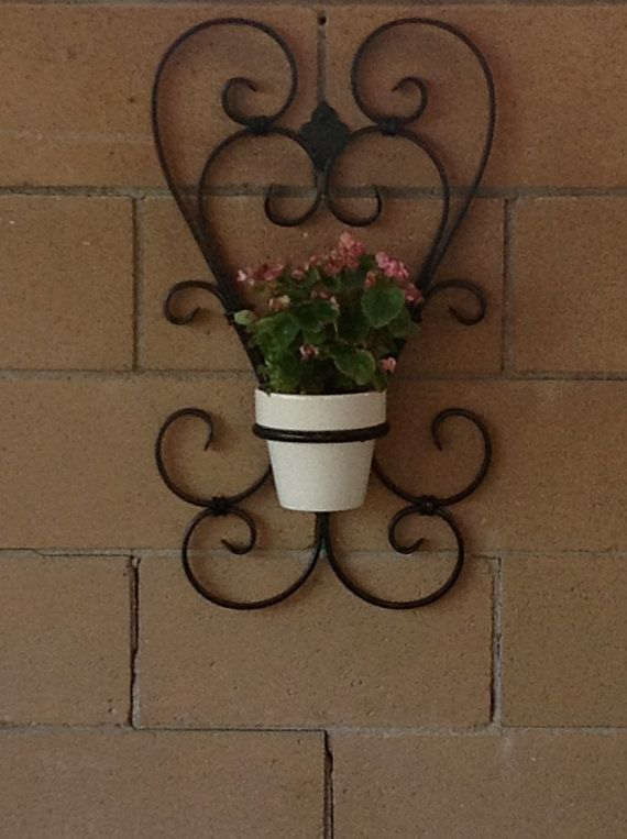 Two heart wrought iron flower pot holder by Scrollworksiron