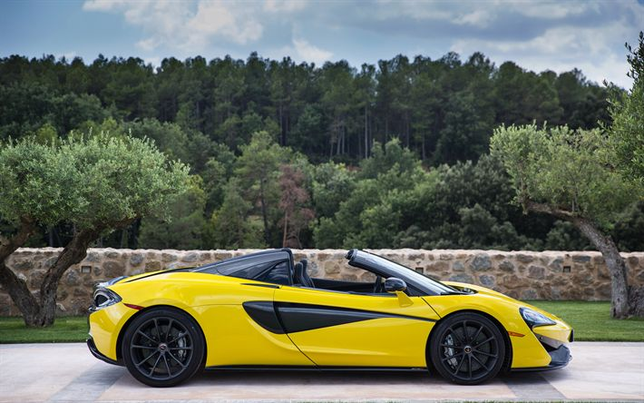 Hämta bilder McLaren 570S Spindel, 2018, Superbil, 4k, roadster, gul 570S, sportbilar, McLaren