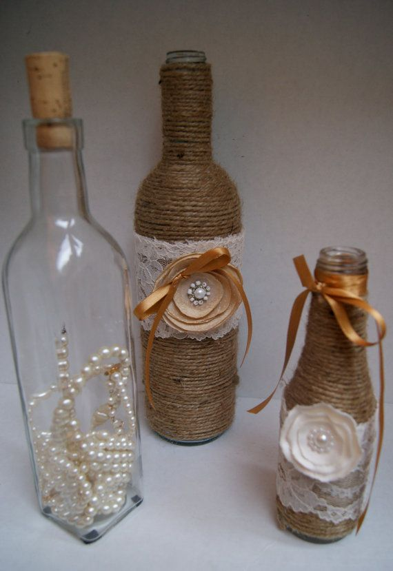 Twine wine bottles with pearlfilled glass bottle by chramberries, $36.00