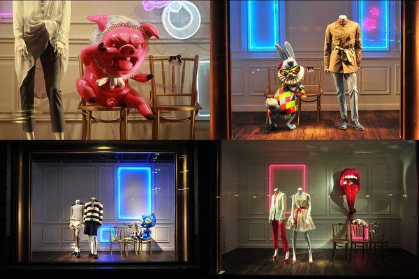 Витрины ЦУМа - результат вдохновения творчеством современного художника и скульптора Такаши Мураками (Takashi Murakami).  Дизайнер Даниил Берг.