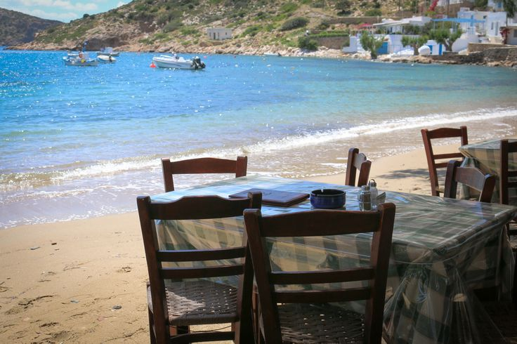 Lunch On The Beach - Holiday heaven in Vathi, Sifnos, Greece. The rough feel of sand on your feet and the aroma of fresh, homemade Greek cuisine wafting in the warm breeze.