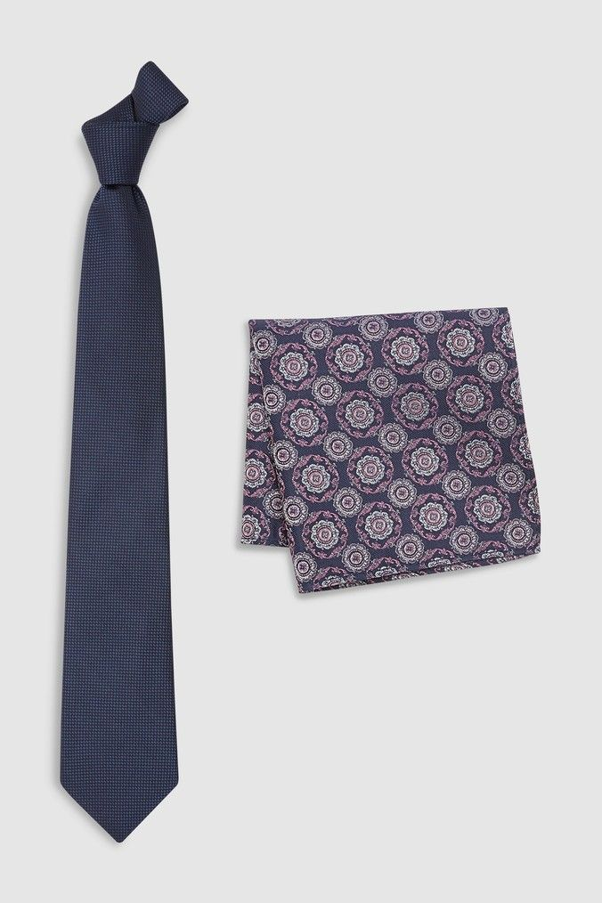 3531ef18ec57 Mens Next Navy Signature Silk Tie With Pattern Pocket Square Set - Blue
