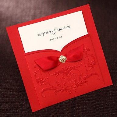 simples asiático estilo convite de casamento gravado tri-dobra em vermelho com fitas (conjunto de 50) - BRL R$ 168,51