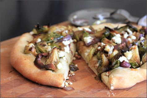 Roasted brussels sprouts & goat cheese pizza