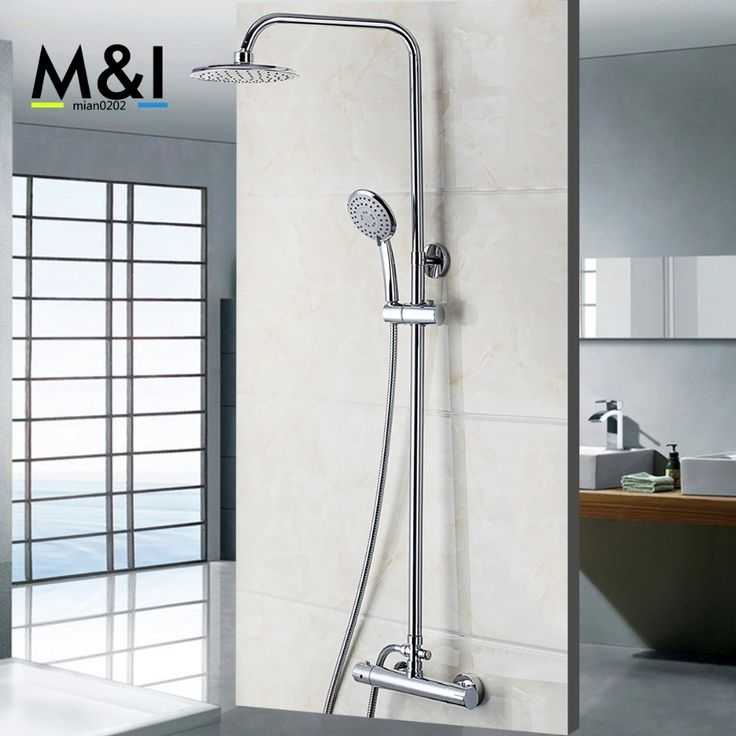 (102.70$)  Buy here - http://aiymh.worlditems.win/all/product.php?id=32798806541 - Bathroom Wall Mounted Plished Chrome Contemporary Bathtub Thermostatic Mixer Valve Rainfall Handheld Shower Head Sets