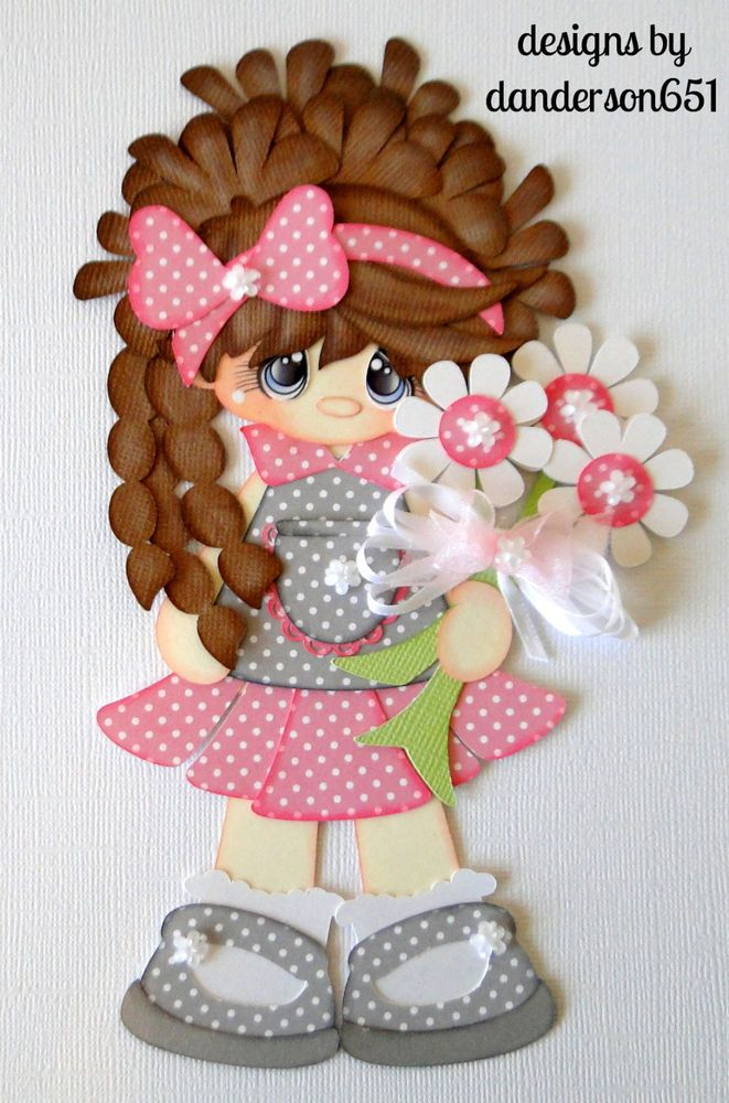 girl flowers die cut paper piecing set premade border
