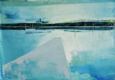 """Abstract painting """"Lake 17"""". Oil painting on cotton canvas. Size 39.37/27.5 inches (100/70 cm)."""