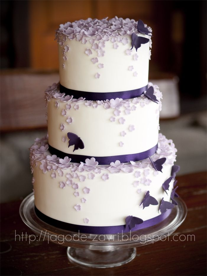 wedding cakes purple and silver butterfly | Eye Candy: Purple Cakes - Inspiration - Project Wedding Forums