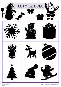 Jeu de loto des ombres de Noël Deux jeux de loto avec 18 ou 27 images (ombres et contours) sur le thème de Noël (Père Noël, sapin, cloches, bonbons, cadeaux, traîneau, guirlandes, flocons de neige...).