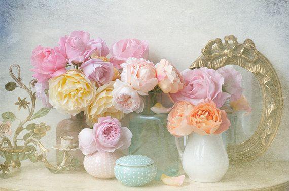 My Garden Roses, Romantic Floral Fine Art Photograph, Vintage Home Decor
