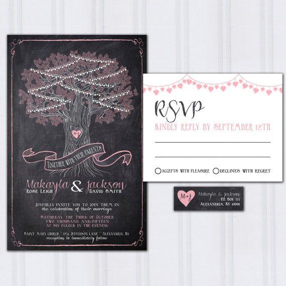 String Light Wedding Invitations, Tree Wedding Invites, Chalkboard Wedding Invitation, Outdoor Wedding, Discount Wedding