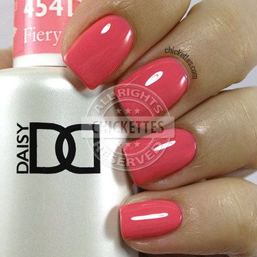NEW FORMULA! Daisy Soak Off Gel Nail Color: Fiery Flamingo #1454. Light pink coral in creme. Size 0.5 oz/15ml. LIMITED PROMOTION: FREE MATCHING NAIL POLISH IN A PACK! About the NEW Daisy Soak Off Gel