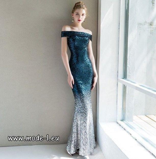 Schulterfreies Glitzer Abendkleid 2019 in Blau mit ...