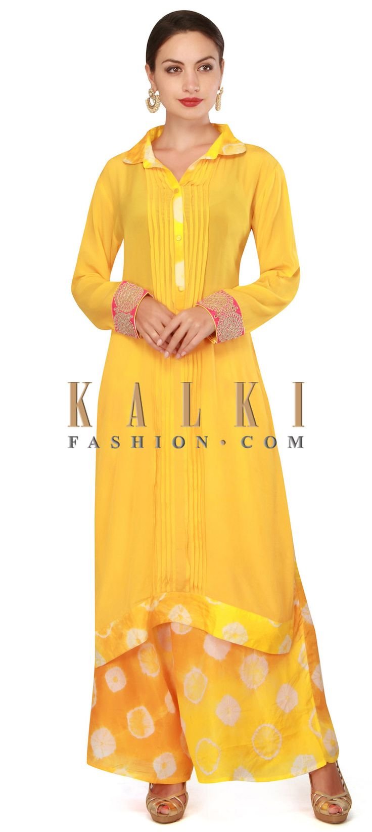 Buy now Yellow straight suit mathced with palazzo pant only on Kalki