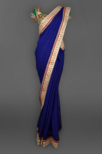 Featuring this beautiful Navy Blue Georgette sari in our wide range of Saris. Grab yourself one. Now!
