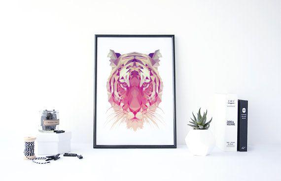 Arte tigre, tigre geométrica, bajo poli, cartel del tigre, tigre de pared arte, impresión del arte del polígono, Poster imprimible, geométricos estampados de animales, cabeza de tigre