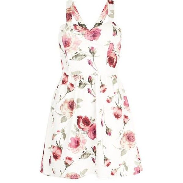 White Floral Print Skater Dress (£20) via Polyvore featuring dresses, floral print skater dress, floral party dresses, party dresses, white night out dresses и going out dresses