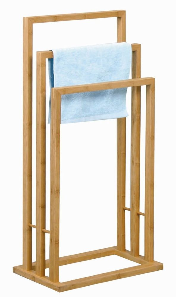 BAMBOO HAND TOWEL RAIL HOLDER VALET BATHROOM ORGANIZER HOLDER STORAGE FREE STAND