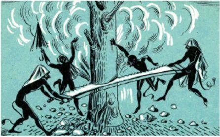 ΤΟ ΔΩΔΕΚΑΗΜΕΡΟ ΚΑΙ ΤΑ ΚΑΛΙΚΑΤΖΑΡΑΚΙΑ (Part 2) - Πολλοί οδοιπόροι, που βρέθηκαν τις νύχτες αυτές σε δάση και ερημωμένους κάμπους, λένε πως είδαν τους καλικάτζαρους  να γυρίζουν εδώ κι εκεί γυμνοί, φορώντας μονάχα σιδερένια παπούτσια, ή ξυλοπάπουτσα και σκούφιες απο γουρουνόπετσα, κρεμαστές, σα σακούλες....