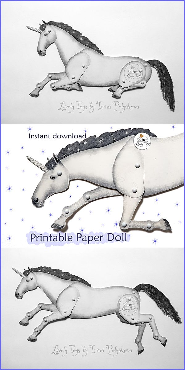 Hey, I found this really awesome Etsy listing at https://www.etsy.com/livelytoys/listing/562327520/  #Unicorn #paper_doll #Articulated_doll #puppet #pattern