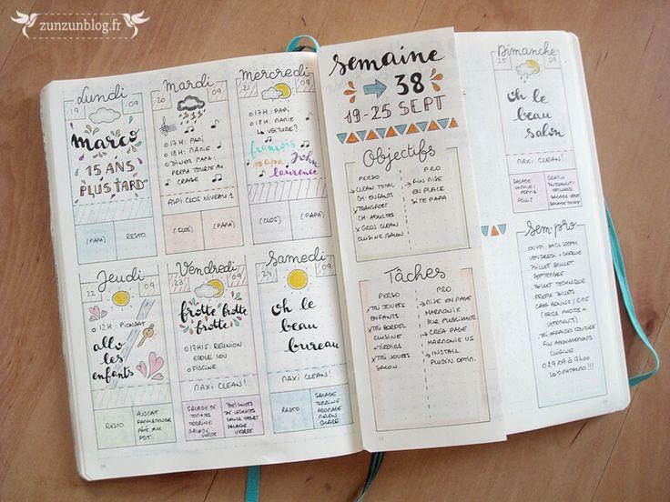 Bullet Journal Septembre planning hebdomadaire