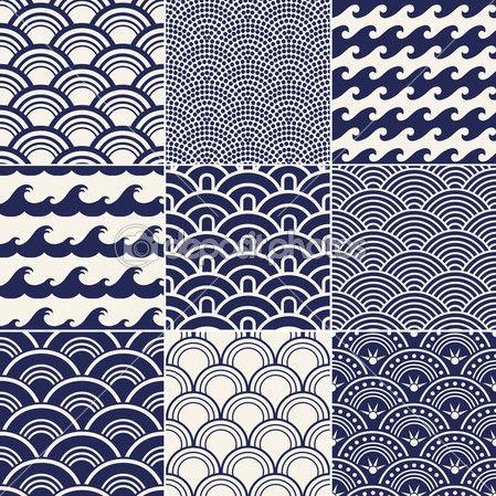 Japanese seamless ocean wave pattern — Stock Illustration #18880359