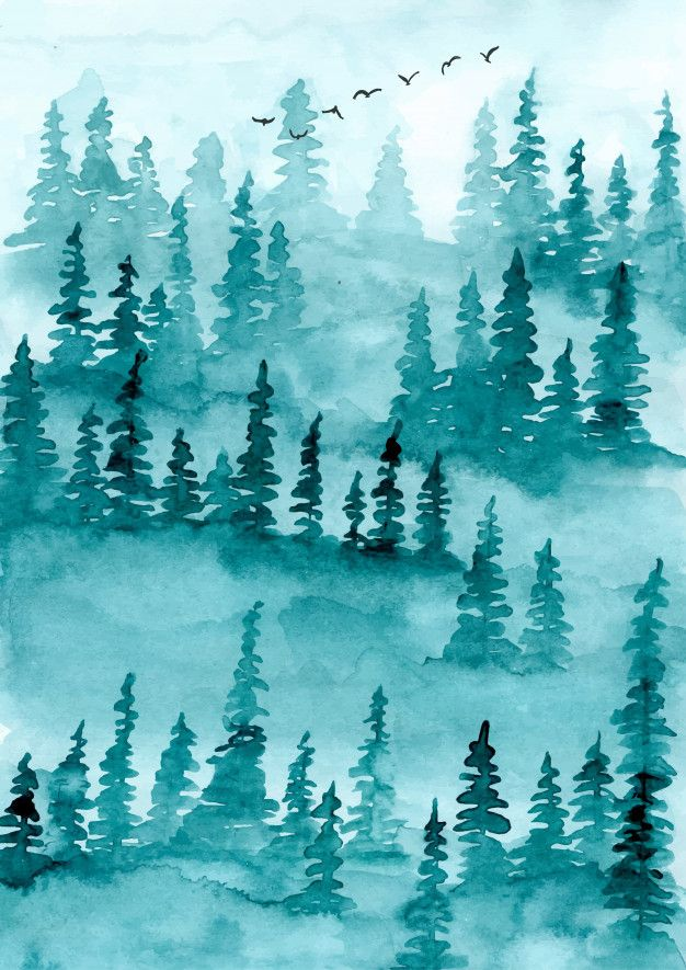 Misty Forest Pine Trees Watercolor Background In 2020 Watercolor