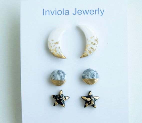 Sale Set 3 White moon Grey round Black stars by InviolaJewerly