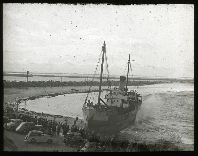 """Mainbar"", Wrecked on Nobby's Beach, 5th May, 1940. Same spot as the MV Pasha Bulka"